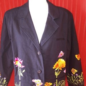 Quacker Factory Embroidered Blazer Cotton M